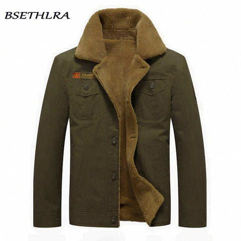 3dd7727b6b9 BSETHLRA 2018 Bomber Jackets Men Autumn Winter New Arrival Casual Overcoats  Thick Windbreak Army Military Fur