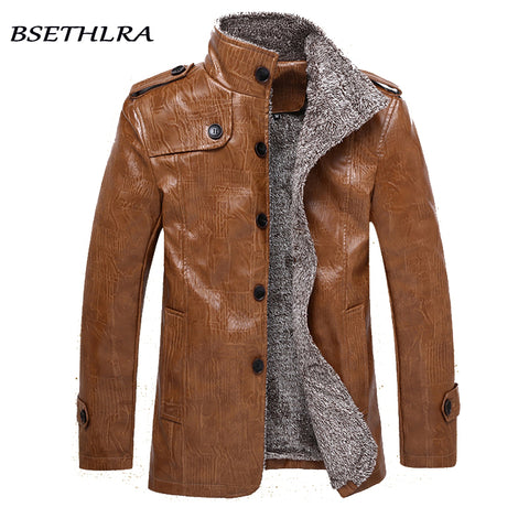 BSETHLRA 2018 Winter PU Jackets Men Thicken Casual Style Slim Fit Windbreak Top Design Quality Fashion Brand Clothing M-4XL