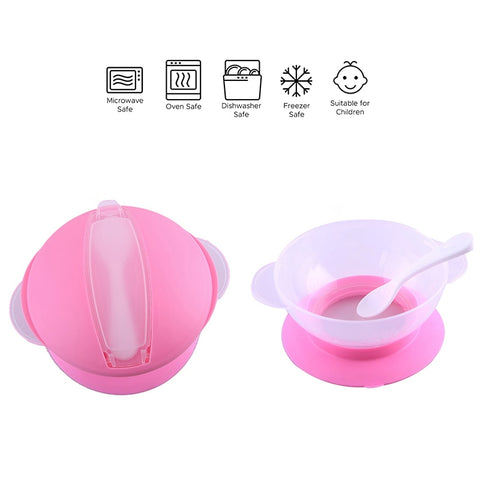 Baby Bowls Food Bowl for Kids Toddlers Super Suction Base BPA-free with Spoons Durable Feeding Bowls Accessory - thefashionique