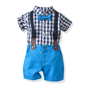 Baby Boy Clothes Boys Bow Plaid Shirts Cotton Short Pants 1-5 Years Kids Fashion Gentleman Summer Outfit Casual Sets Clothing - thefashionique
