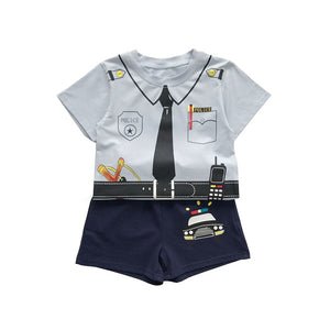 Baby Boys Summer Clothing Set Children Cartoon Little Police Officer T-Shirt+Short Pants 2pcs & Girl T-Shirt+Skirts Kids Clothes - thefashionique