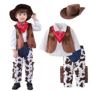 Baby Cosplay Clothes~ Western Cowboy Style Belt Baby Boy Romper with Cap & Triangle Towel /Cool Bodysuit/5-piece Baby Set 3159