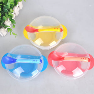 Baby Feeding Dishes Sucker Bowl Non-Slip Anti-Drop Super Suction Baby Training Bowl Set (Bowl + Lid + Spoon) For > 5M - thefashionique