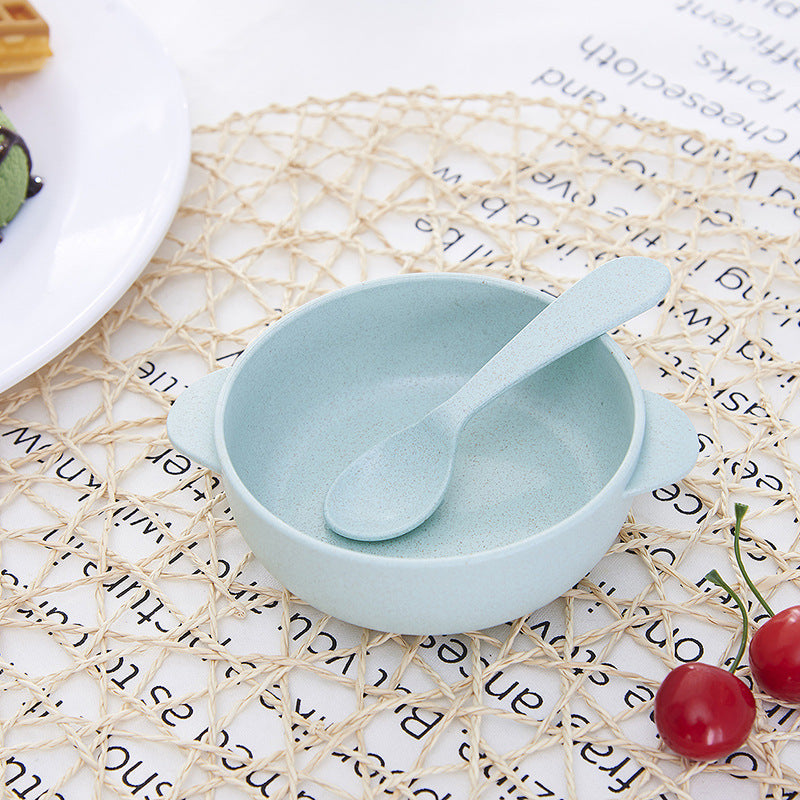 Baby Feeding Food Tableware Bowl Kids Dishes Baby Eating Dinnerware Sets Anti-hot Baby Training Wheat Straw Bowl+Spoon - thefashionique