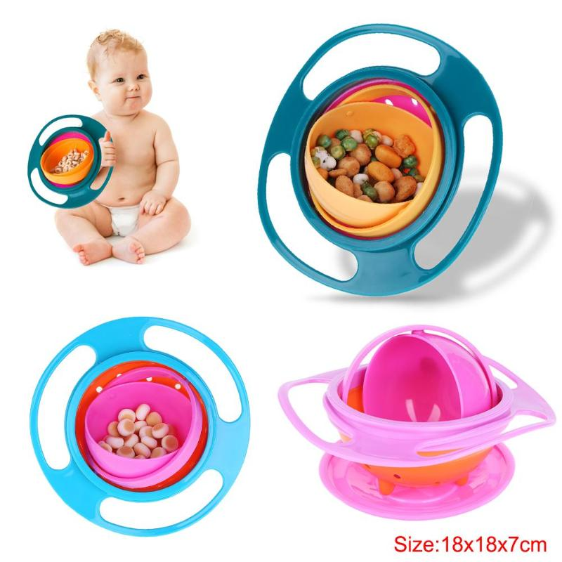 Baby Feeding Learning Dishes Bowl High Quality Assist Toddler Baby Food Dinnerware For Kids Eating Training Gyro Bowl 3 Color - thefashionique