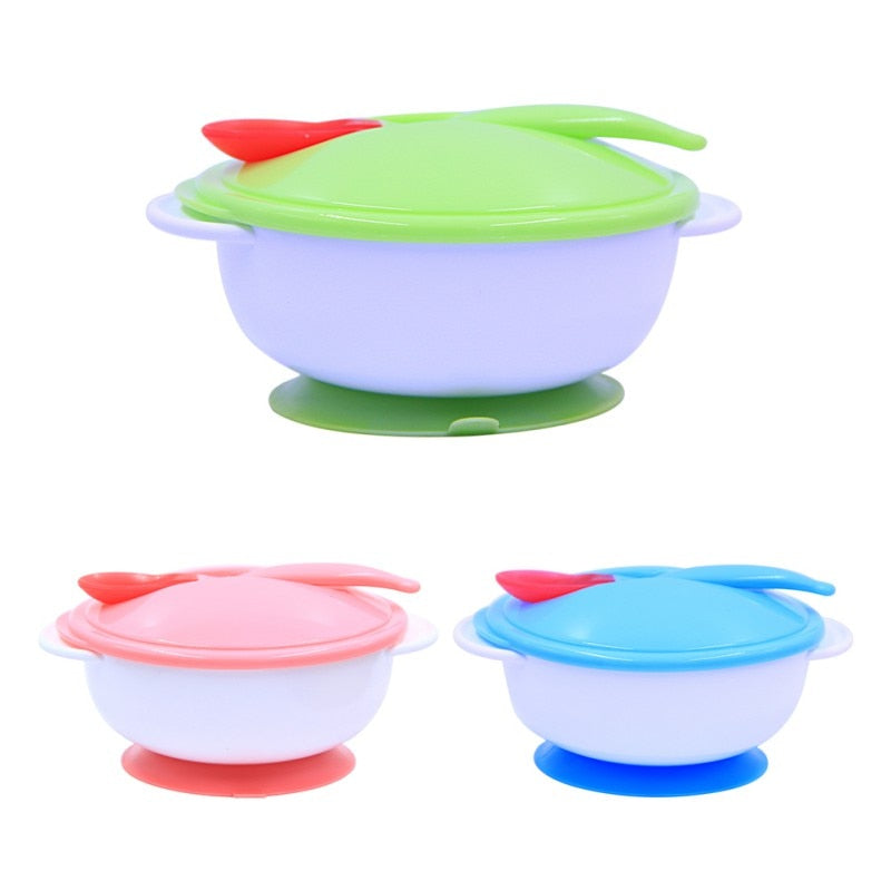 Baby Feeding Tableware Children Plate Sucker Bowl Toddler Baby Kids Child Feeding Lid Training Bowl with Spoon Learnning Dishes - thefashionique