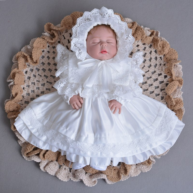 a0e7149cb Baby Girl Christening Dress Long Sleeve Satin Baptism Gown with Bonnet Hat  Bridesmaids Frock Ivory White. prev