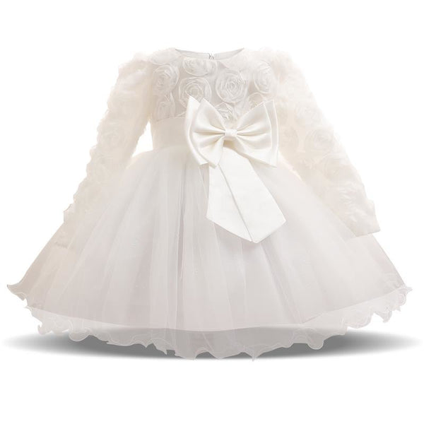 Baby Girl Dress Autumn Winter Tutu Dresses Bebes Wedding Christening Party Wear Toddler Girl 1 Year Birthday Frocks Baptism - thefashionique