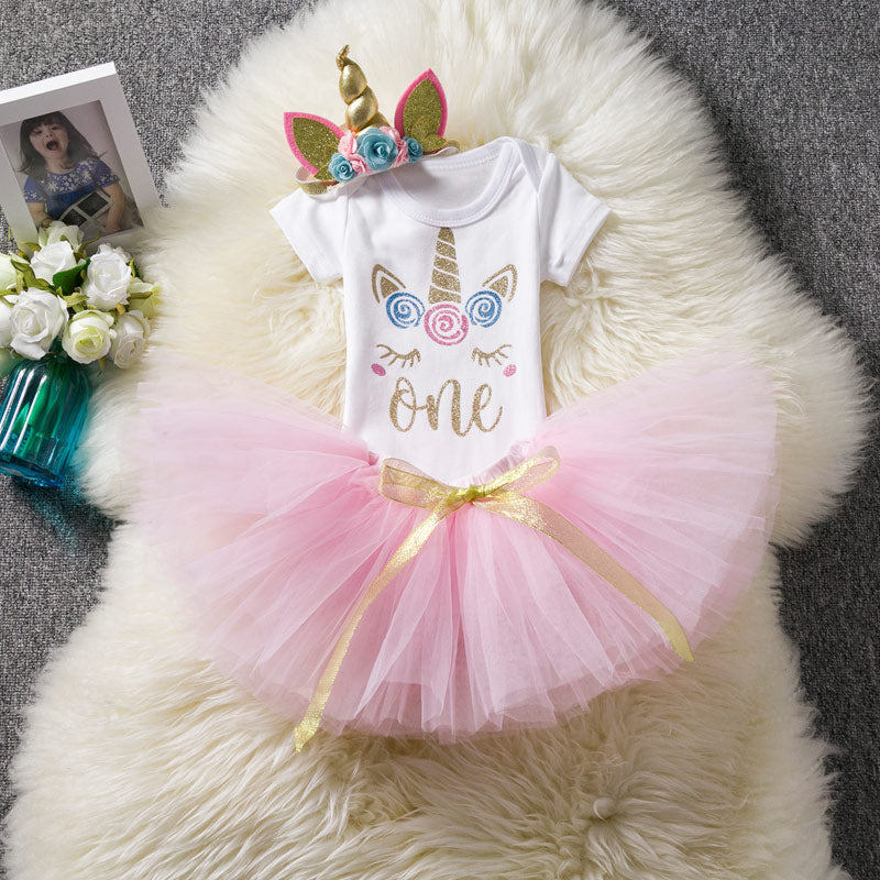 Baby Girl Flower Dress Rainbow Tutu Girl Dress For Party and Wedding Toddler Dresses 1st Birthday Outfits Bebes Christening Gown - thefashionique