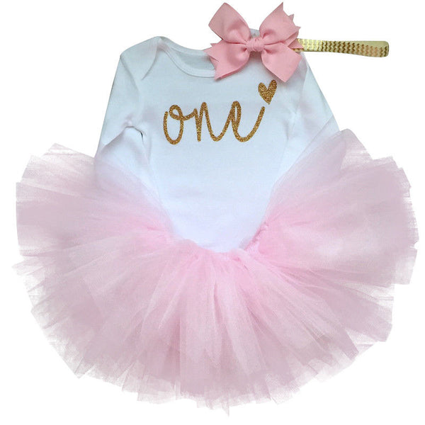Baby Girl Long Sleeve Dress 1st Birthday Party Clothes Newborn Toddler Girls Outfit Tutu Princess 1 Year Christening Ball Gowns - thefashionique