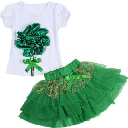 Baby Girls Clothing Set 2017 Summer New Big Rose Flower Short Sleeve Cotton T-shirts+short Skirts Kids Clothes Suit - thefashionique