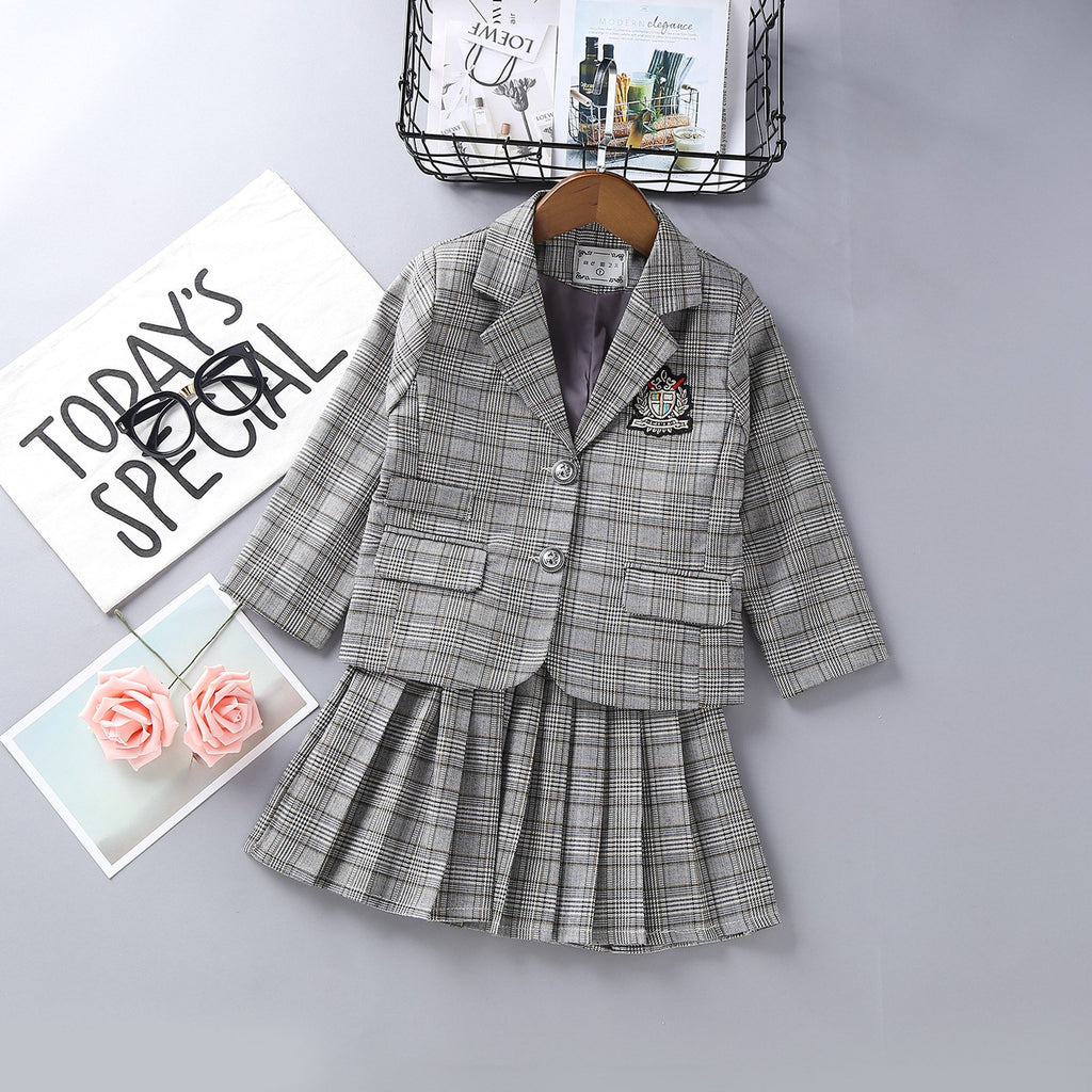 Baby Girls Clothing Sets England Plaid Blazer + Pleated Skirt 2Pcs Children Uniform Clothing Autumn Kids School Clothes 2-7Yrs - thefashionique