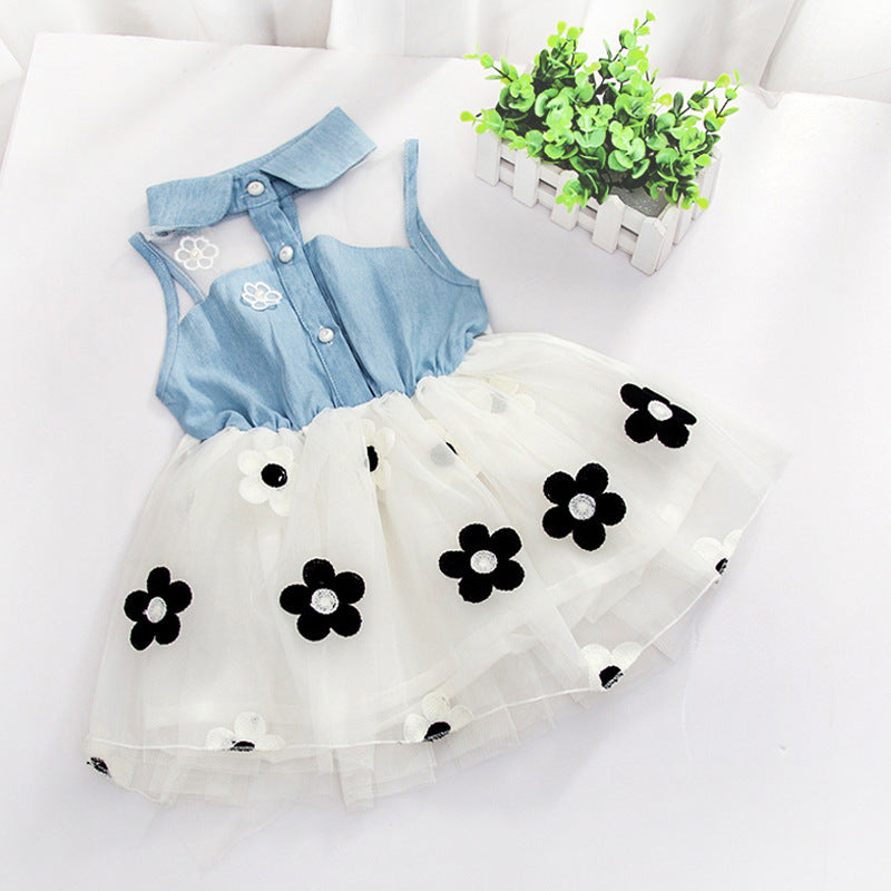Baby Girls Dress Summer Sleeveless Flowers Denim Mesh Princess Dress For 6M-3Y kids Party Birthday Dress Gift - thefashionique
