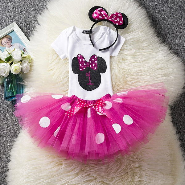 Baby Girls First Birthday Dress 2St Birthday Clothes Mickey Kids Cothes Minnie Dots Tutu Dress Toddler Girls Princess Dress Gown - thefashionique