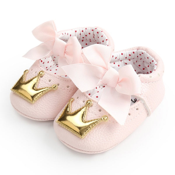 Baby Girls Princess Shoes Spring Autumn PU Cute Butterfly Crown Anti-slip Toddler Shoes Baby Soft Soled Shoes Indoor Crib Shoes - thefashionique