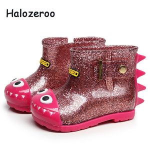 Baby Girls Rain Boots Children Mid Calf Boots Kids Waterproof Jelly Shoes Toddler Wellington Boots Boys Sequin Brand Shoes 2019