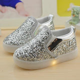 Baby Girls boy LED Light Shoes Toddler Anti-Slip Sports Boots Kids Sneakers Children Cartoon Sequins PU Flats size 21-30 New 183 - thefashionique