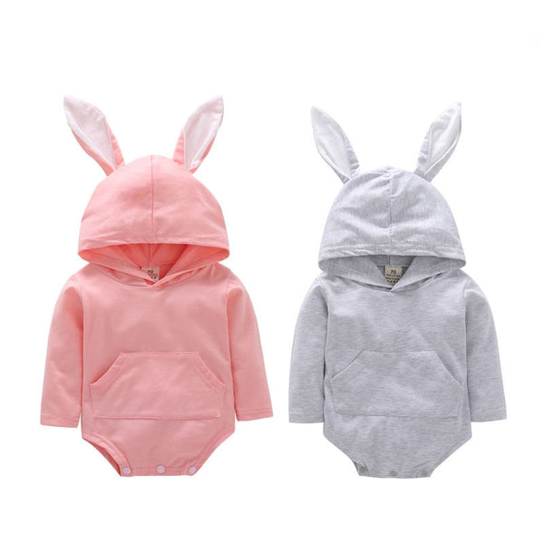 Baby Little Girls Boys 3D Bunny Easter Clothes Long Sleeve Romper Hooded Solid Jumpsuit - thefashionique