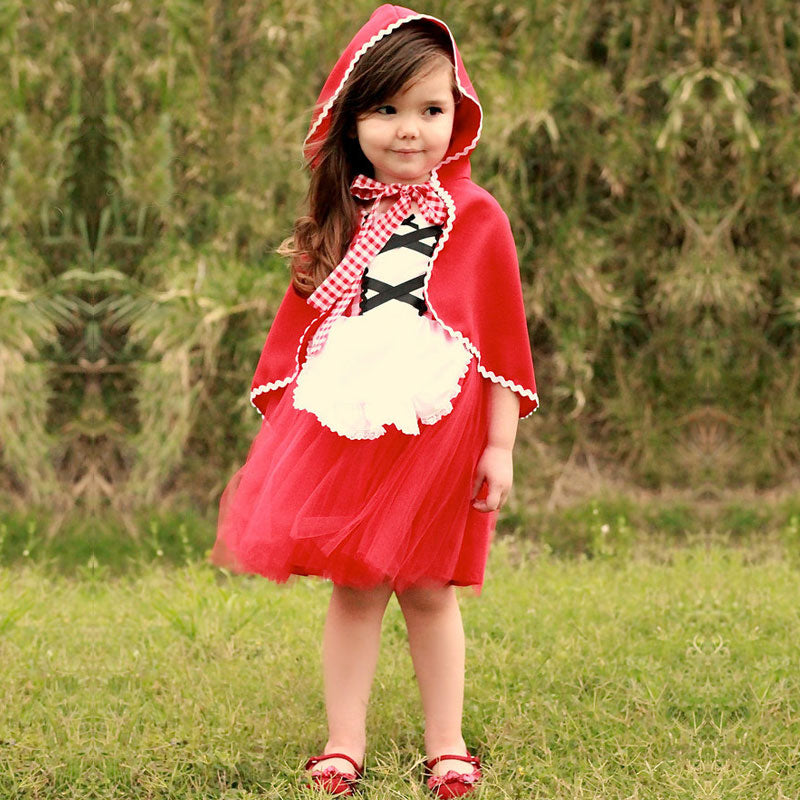 Baby Little Red Riding Hood Tutu Dress For Girl Party Princess Frock Girls Costumes Kids Fancy Ball Dress Infant Clothing 2 6T - thefashionique