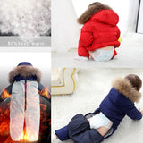 Baby Siamese Down Jacket Children's Solid Color Down coat Boys Thick Ski Suit Girls Windproof Waterproof Down Jacket Natural fur - thefashionique