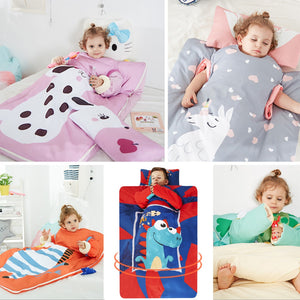 Baby Sleeping Bag with Removable Pillow Comfortable Kids Nap Mat Pad Anti-kick Quilt Artifact For Preschool Daycare Sleepovers