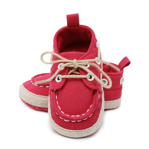 Baby boy girls shoes newborn crib shoes fashion canvas casual bebe crib shoes lace up Skid-Proof spring first walker Booties