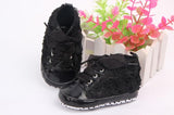 Baby shoes New 1 Pair Baby Girls Toddler Shoes Rose Lace Soft Bottom Princess High Shoes First Walkers - thefashionique