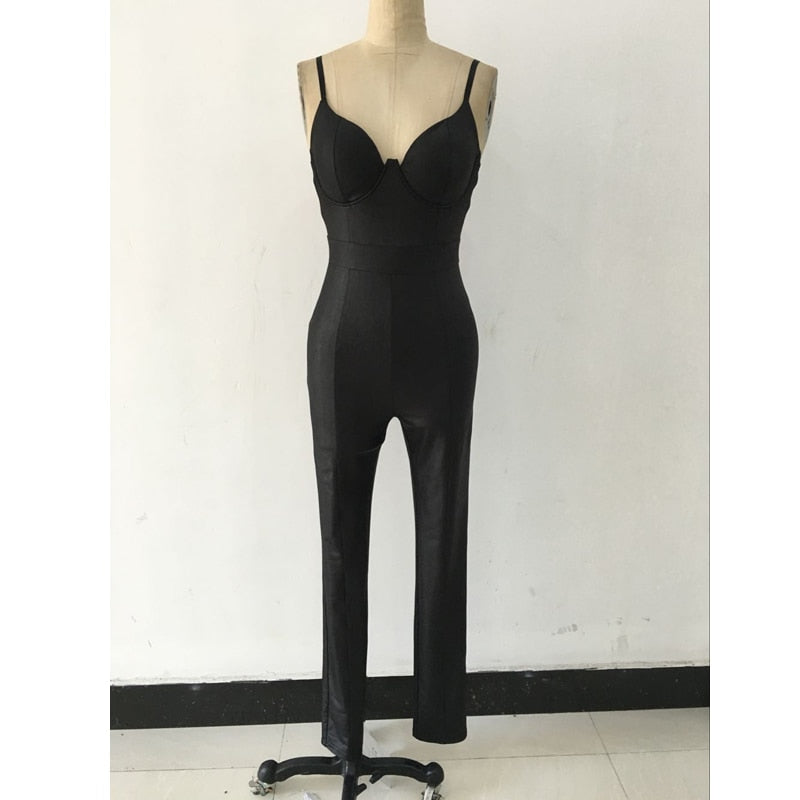 Backless Bandage Sexy Jumpsuit Latex Zentai Catsuit Smooth Wetlook Jumpsuit Tight-Fitting Cute Faux Leather Jumpsuit S2408 - thefashionique