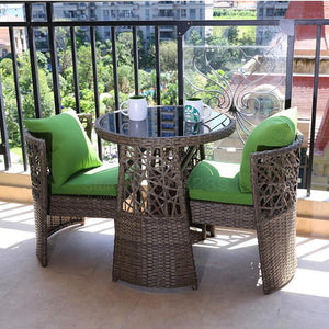 Balcony Rattan Chair Three-piece Outdoor Garden Rattan Table And Chair Combination Recreational Open-air Balcony Small Tea Table