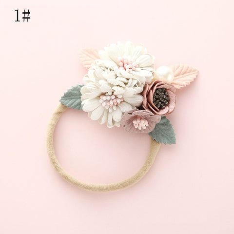0c4064db29d74 Baby Girls Fashion Florals Headband Newborn Baby Elastic Princess Hairbands  Child Kids Pearl Fresh Style Cute