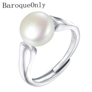 BaroqueOnly 2018Fashion Pearl Ring Jewelry of Silver Oval Natural Freshwater Pearl Rings 925 Sterling Silver Rings for WomenGift - thefashionique