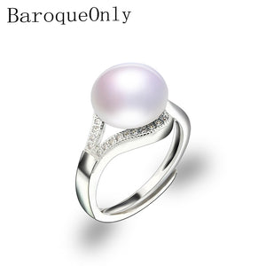 BaroqueOnly Pearl Ring Natural Freshwater Pearl Jewelry 925 Sterling Silver Rings For Women High Guality Zircon Wedding Gift - thefashionique
