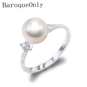 BaroqueOnly White/purple/blue 7-8mm Real Natural Freshwater Pearl Wedding Ring Fashion Women Engagement Ring Elegant Jewelry - thefashionique