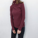 Basic Cotton Turtleneck Tops Tees Women Long Sleeve T Shirts Ribbed Layering Shirts Solid Colors - thefashionique