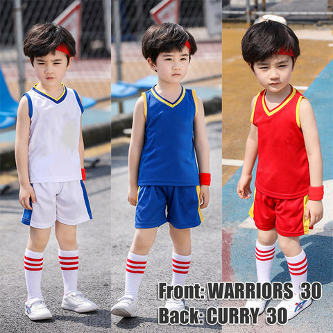 Basketball Jersey Kid Clothes Mesh Breathable Summer Kids Tracksuit Children Boys Clothes Girls Sets Clothing GSW Vest Outfits