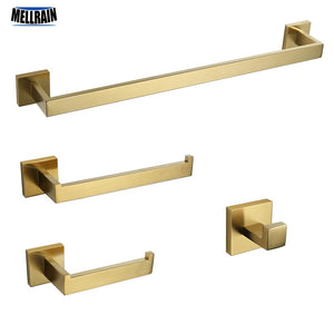 Bathroom Hardware Set Gold Brushed Towel Bar Toilet Paper Holder Towel Ring Bath Robe Hook Bathroom Accessories - thefashionique