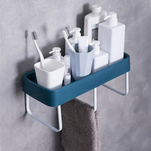 Bathroom Shelf Shower Shampoo Soap Cosmetic Shelves Wall Mount Bathroom Shelf Bath Storage Rack Hook Easy to Install - thefashionique