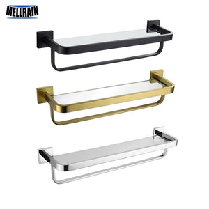 Bathroom Shelves Glass Shelf Stainless Steel Black Towel Holder Platform With Towel Bar Chrome Quality Bathroom Hardware - thefashionique