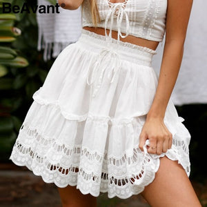 BeAvant A-line high waist women skirt white Embroidery cotton mini skirts 2019 Casual loose ruffle beach summer skirt female - thefashionique
