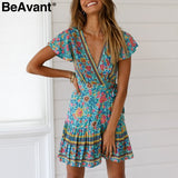 BeAvant V neck floral print boho dress women High waist pleated summer dress ladies Elegant ruffle short sleeve mini dress 2019 - thefashionique