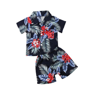 Beach clothes 2pcs Toddler Infant Kid Baby Boys Floral Print T-shirt Tops+Pants Summer Outfits Clothes Set Size 2-6T - thefashionique