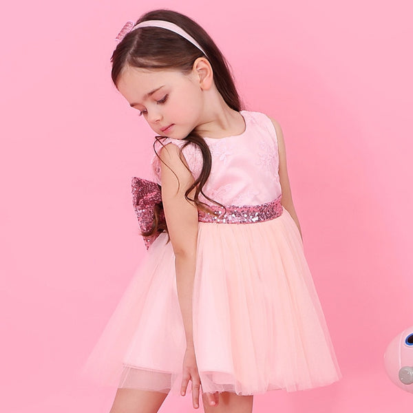 Bear Leader Girls Dresses 2018 New Brand Princess Girl Clothes Bowknot Sleeveless Party Dress Girls Clothes For 1-6 Years - thefashionique