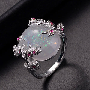 Beautiful Tree & Flower Ring Jewelry Black Gold Filled Romantic CZ Big White Fire Opal Rings for Women Dropshipping Bands Ring - thefashionique