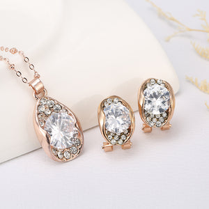 Beautiful Unique Design For Women with Cubic Zirconia Earrings Pendants Necklaces Jewelry Set For Wedding Engagement - thefashionique