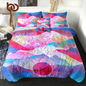 BeddingOutlet Abstract Art Thin Quilt Watercolor Mountains Summer Blanket Colorful Bedspreads Sunrise Sunset Comforter Drop Ship