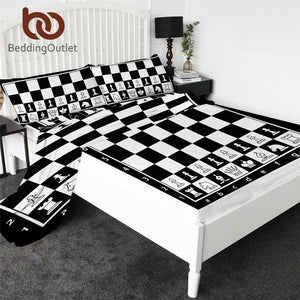 BeddingOutlet Chess Board Fitted Sheet Games Bed Sheet Set Black and White Flat Sheet Squares Teen Bedding 4pcs Mattress Cover