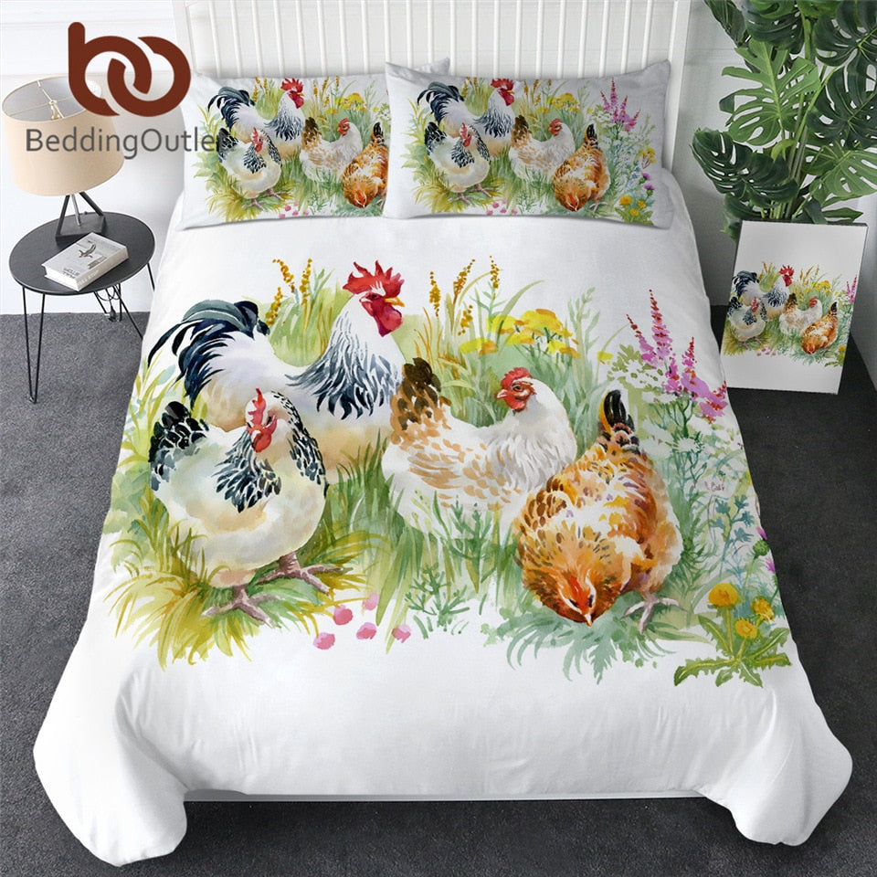 BeddingOutlet Chicken Duvet Cover With Pillowcase Watercolor Rooster Bedding Set Animal Flower Bedclothes Green Grass Bedlinen