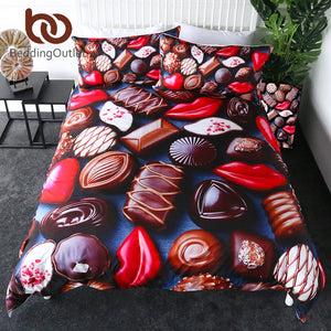 BeddingOutlet Chocolate Bedding Set Sweet Candy Duvet Cover Queen Red Lips Girls Quilt Cover Dessert Bed Set 3pcs parrure de lit