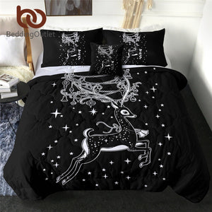 BeddingOutlet Christmas Deer Summer Quilt Elk Black Comforter Bed Cover Festival Quilting Home Textiles Stars Cartoon Bedding