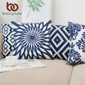 BeddingOutlet Classic Cushion Cover Embroidered Pillow Cover Blue Geometric Pillow Case Home Decor Bed Sofa Floral Pillowcase